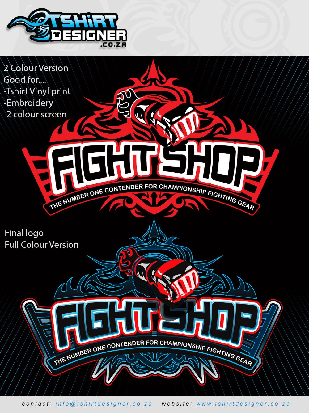 2 colour design, 2 colour print, 2 colour printing, 2 color, 2 color design, 2 color logo design, 2 color tshirt printing, fight shop logo design, fist logo, tribal logo